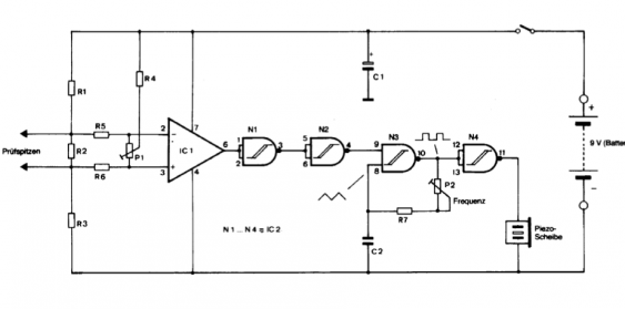 Schematic for the low-voltage continuity tester