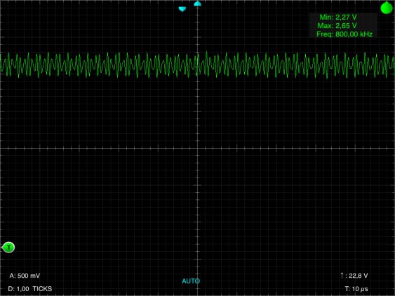13 MHz sigmnal with the iMSO-104 in 10x mode with 10µs time base