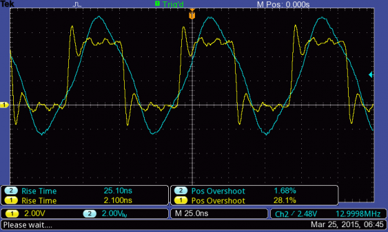 13MHz signal with the iMSO probe on the TBS1202B-EDU, in 1x mode