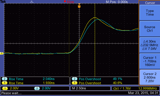 rise time for 13 MHz square wave with 200 MHz probe