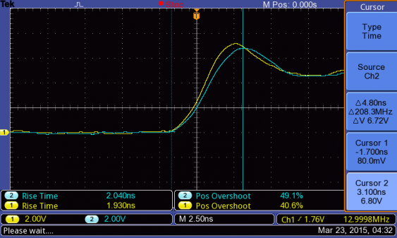 rise time for 13 MHz square wave with 50 MHz probe